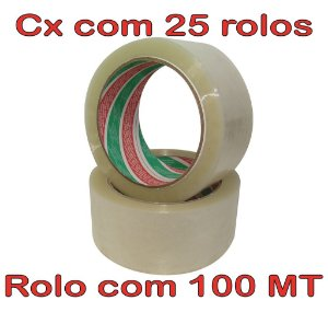 Fita Adesiva Cristal 48mm x 100mt - 25 Rolos