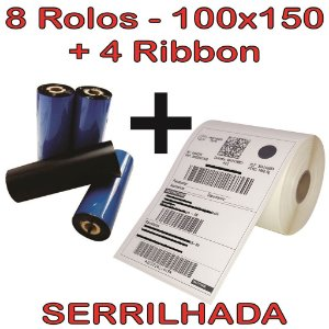 Kit 08 Etiqueta Couchê 100x150 Serrilhada + 04 Ribbon