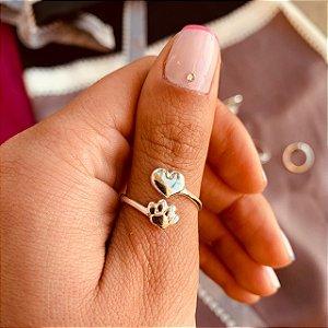 Anel pata e coração em prata 925