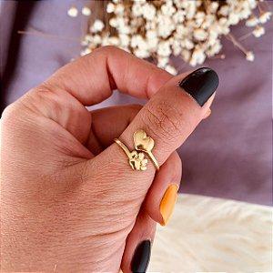 Anel pata e coração folheado em ouro 18K