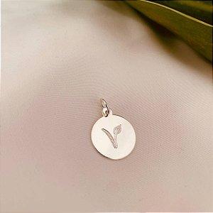 Pingente medalhinha folha Vegan em prata 925