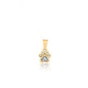 Pingente de pata com pedras de zircônia e ródio branco folheado em ouro 18k