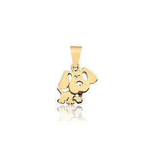 Pingente de cachorro liso folheado em ouro 18K
