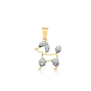 Pingente Poodle vazado com detalhes em ródio branco e zircônias folheado em ouro 18k