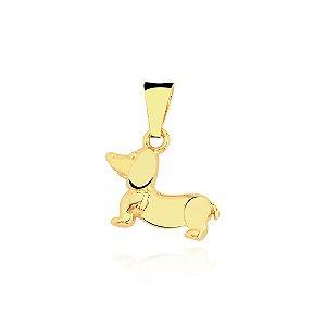 Pingente Dachshund liso folheado em ouro 18K