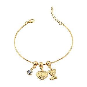 Pulseira de gato com pingente coração e ponto de luz folheado em ouro 18k