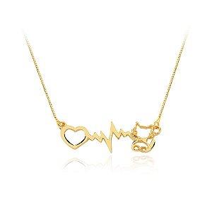 Colar batimento cardíaco e gato folheado em ouro 18k