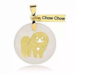 Pingente madrepérola raça Chow Chow folheado em ouro 18k