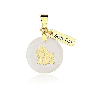 Pingente madrepérola raça Shih Tzu folheado em ouro 18k