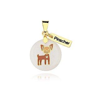 Pingente madrepérola colorido raça Pinscher folheado em ouro 18k