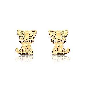 Brinco de gato folheado em ouro 18K
