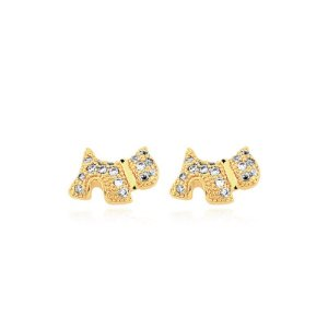 Brinco de cachorro com pedras de zircônia folheado em ouro 18k