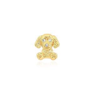 Pingente de cachorro com pedra de zircônias nos olhos folheado em ouro 18K