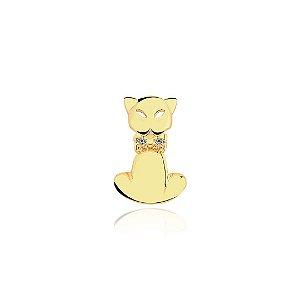 Pingente gato com coleira em zircônia folheado em ouro 18k