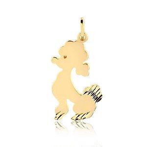 Pingente Poodle com detalhes em baixo relevo folheado em ouro 18k
