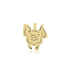 Pingente Porco sorrindo folheado em ouro 18k