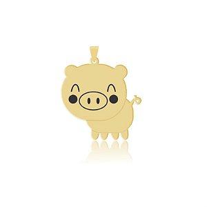 Pingente Porco com bochechas em resina folheado em ouro 18k