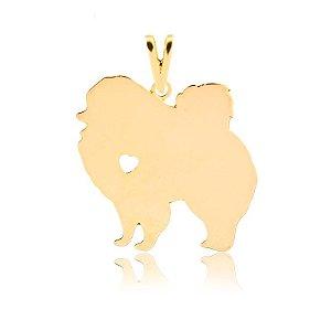 Pingente Spitz Alemão com coração vazado folheado em ouro 18k