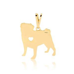 Pingente Pug folheado em ouro 18k