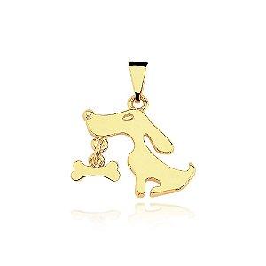 Pingente cachorro com ossinho folheado em ouro 18k
