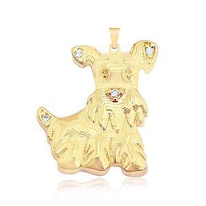 Pingente cachorro com microzircônia folheado em ouro 18k