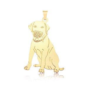 Pingente Labrador com traços em baixo relevo folheado em ouro 18k