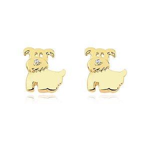 Brinco de cachorro folheado em ouro 18k