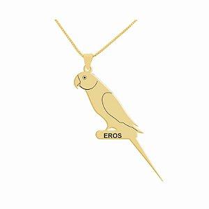 Colar personalizado com ave espécie Ringneck folheado em ouro 18k