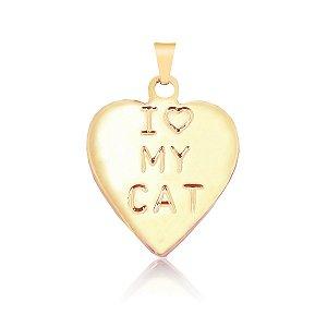 Pingente coração I love My Cat (gato) folheado em ouro 18k