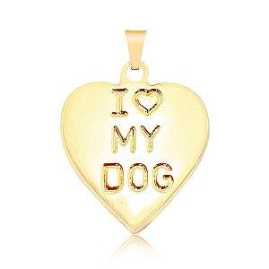 Pingente coração I love My Dog (cachorro) folheado em ouro 18k