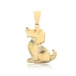 Pingente cachorro texturizado folheado em ouro 18k