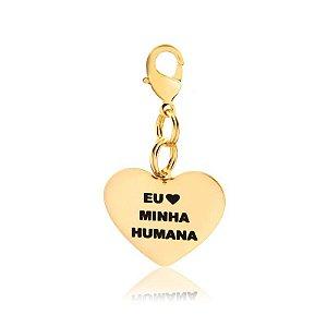 Pingente pet com frase eu amo minha humana (o) folheado em ouro 18k