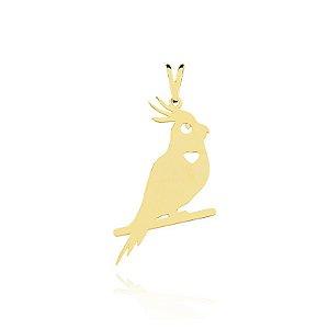 Pingente Calopsita folheado em ouro 18k