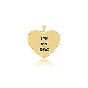 Pingente em formato de coração I Love My Dog folheado em ouro 18k