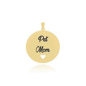 Pingente Pet Mom com coração vazado folheado em ouro 18k
