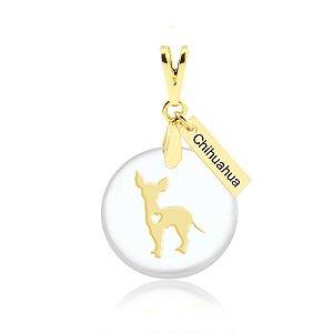Pingente acrílico Chihuahua folheado em ouro 18k