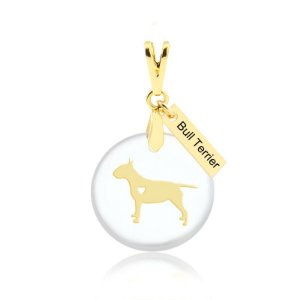 Pingente acrílico Bull Terrier folheado em ouro 18K