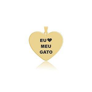 Pingente em formato de coração escrito Eu Amo meu Gato folheado em ouro 18k