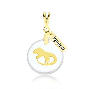 Pingente acrílico de Iguana folheado em ouro 18K