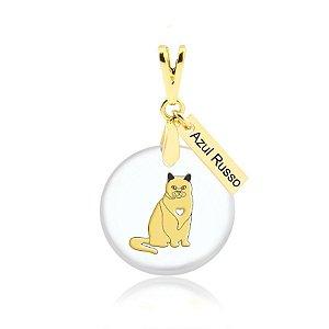 Pingente acrílico de gato raça Azul Russo folheado em ouro 18K