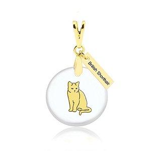 Pingente acrílico de gato da raça British Shorthair folheado em ouro 18k