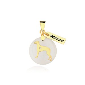 Pingente madrepérola Whippet folheado em ouro 18K