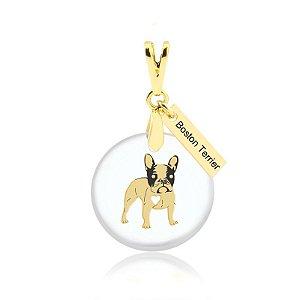 Pingente acrílico Boston Terrier folheado em ouro 18K