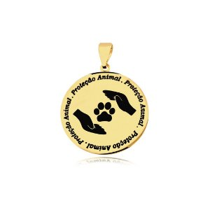 Pingente Proteção Animal logo mãos  e escrita folheado em ouro 18k