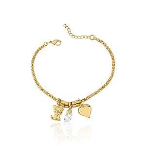 Pulseira de gato com ponto de luz, coração e separadores folheado em ouro 18k