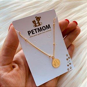 Pulseira com medalha de gato folheado em ouro 18k