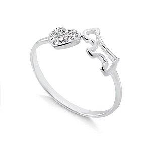 Anel de cachorro com coração cravejado em prata 925