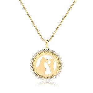Colar mandala de zircônia personalizada folheado em ouro 18k