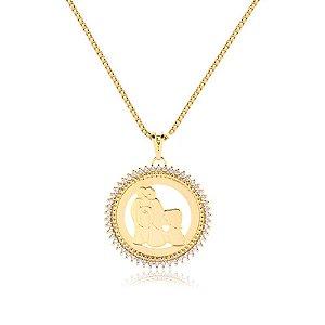 Colar mandala de zircônia padrão da raça folheado em ouro 18k