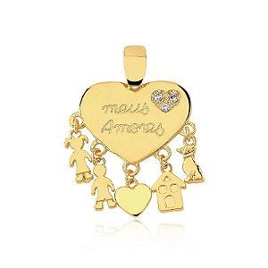 Pingente meus amores com personalização nos pingentes folheado em ouro 18k